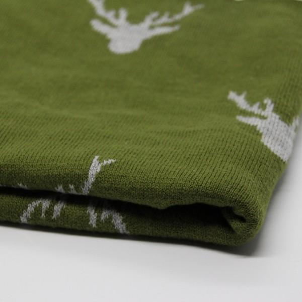 Strick Doubleface Rentier grün/grau
