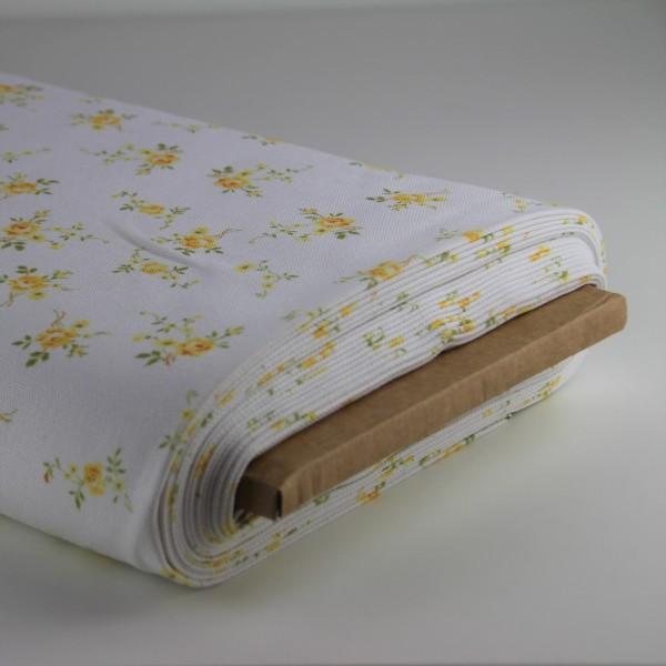 Baumwolle Blumen weiß/gelb
