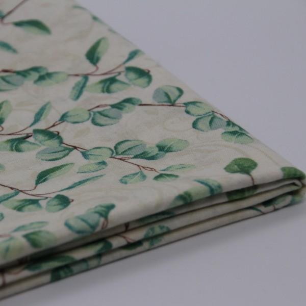 Baumwolle Blätterprint weiß/grün