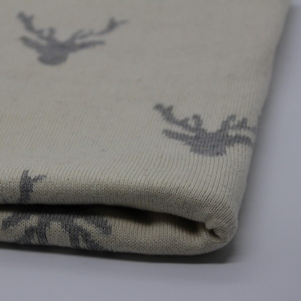 Strick Doubleface Rentier weiß/grau