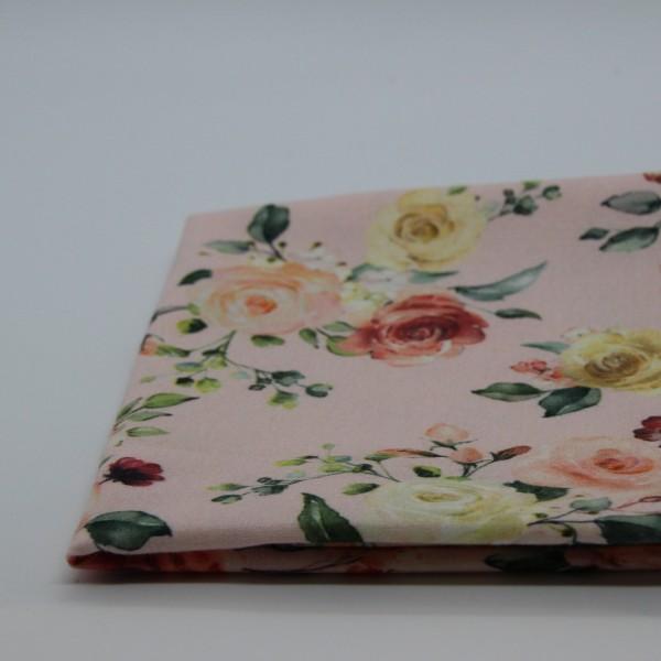 Baumwollpopeline Blumen rosa