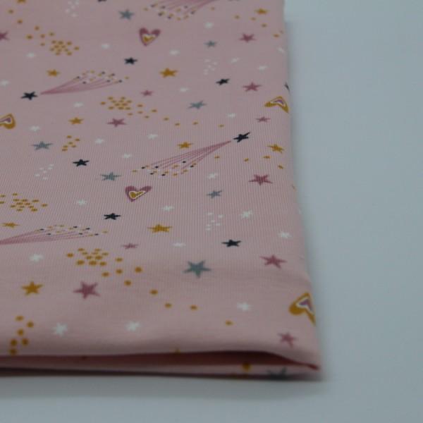 Baumwolljersey Sterne rosa