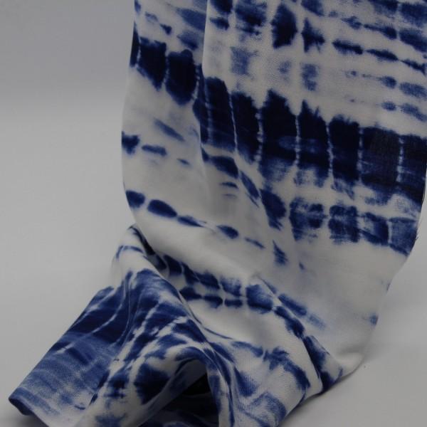 Viskosestoff Batik Druck blau