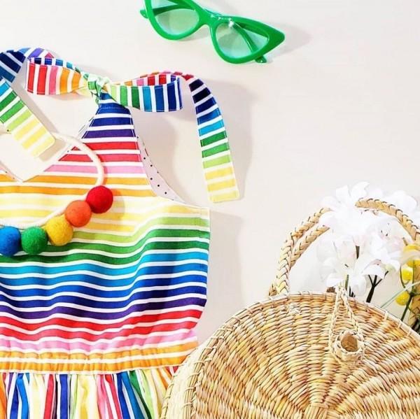 Baumwolle Regenbogenfarben bunt bedruckt